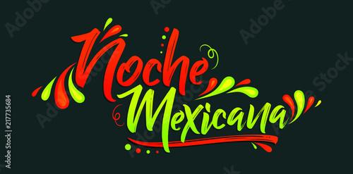 Fotografía  Noche mexicana, Mexican night spanish text, banner vector celebration