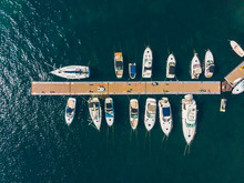 Aerial View Of Yachts In City Docks Of Montenegro