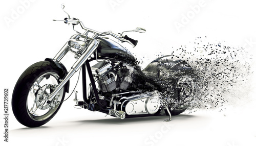 Side view of a Custom black motorcycle with dispersion effects on a white background Canvas Print