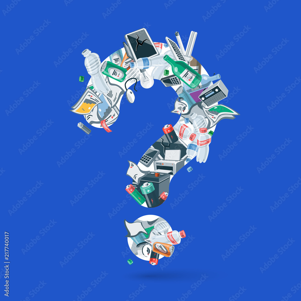 Fototapeta Waste creating question figure. Illustration of trash like, paper, plastic, glass, metal, e-waste, batteries, light bulbs and mixed garbage forming a question mark. Vector concept in cartoon style.