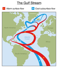 Gulf Stream Chart. Warm Surfac...