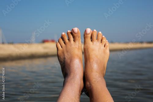 Obraz na plátně  summer relaxation on sea background. ideal vacation concept
