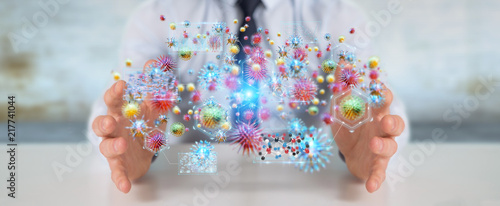 Businessman analyzing bacteria microscopic close-up 3D rendering