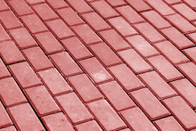 Cobble Stone Pavement In Red Tone.