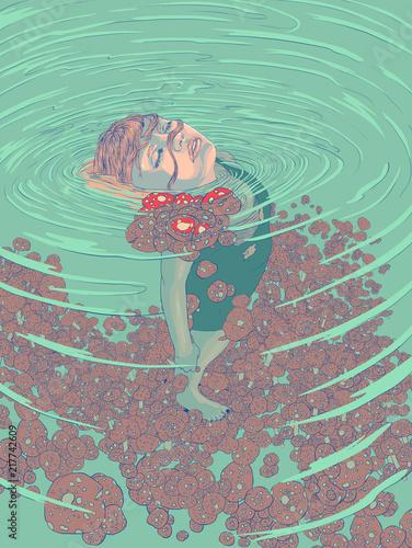 Foto op Plexiglas Vlinders in Grunge underwater