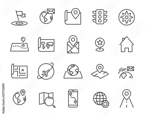 set of world map vector line icons, such as map, way, globe Wall mural