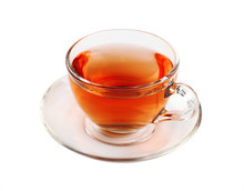 Transparent Glass Cup Of Black Tea Isolated