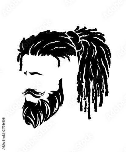 mens hairstyles and hirecut with beard mustache Fototapeta