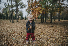 Portrait Of Happy Baby Boy Playing With Autumn Leaves While Standing At Park