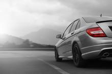 Grey Car Speeding On Speed Road