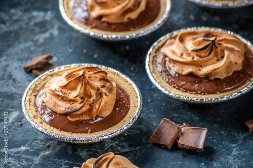 small individual chocolate pudding pies with toasted