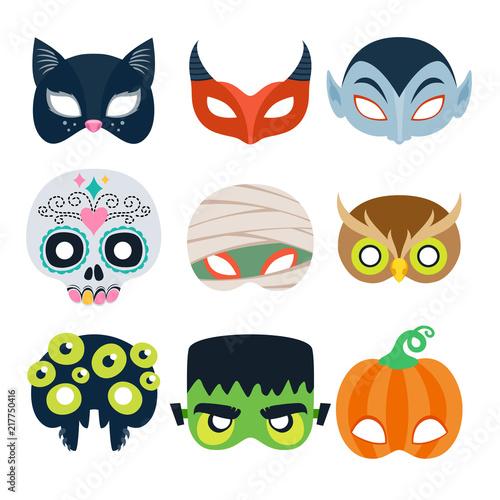 Obraz na płótnie Halloween party masks vector illustration.