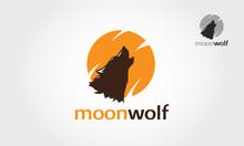Moon Wolf Vector Logo Illustration. Silhouette Head Howling Wolf Logo Vector