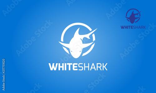 Fotografía White Shark Vector Logo Template