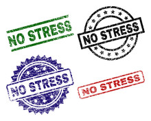 NO STRESS Seal Prints With Corroded Style. Black, Green,red,blue Vector Rubber Prints Of NO STRESS Tag With Dirty Style. Rubber Seals With Circle, Rectangle, Medal Shapes.
