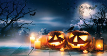 Scary Horror Background With Halloween Pumpkins Jack O Lantern