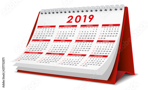 Photo Desktop Calendar 2019 in red color