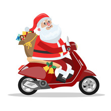 Funny Cute Santa Claus Riding ...