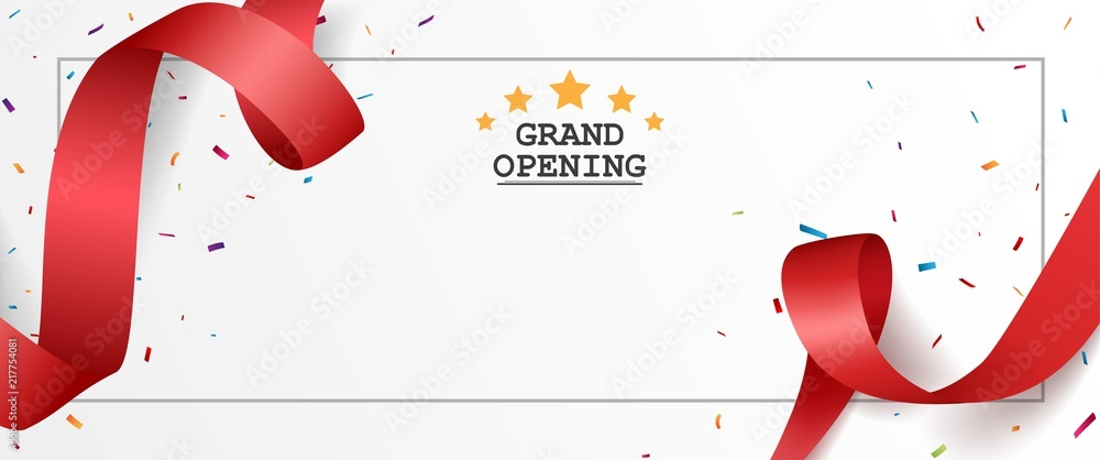 Fototapeta Grand opening card design with red ribbon and colorful confetti