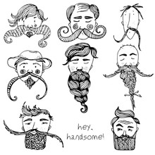 Hand Drawn Vector Zen Beard Se...