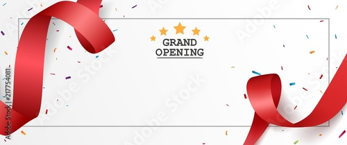 Fotografía Grand opening card design with red ribbon and colorful confetti