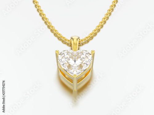 Foto  3D illustration yellow gold big heart diamond necklace on chain