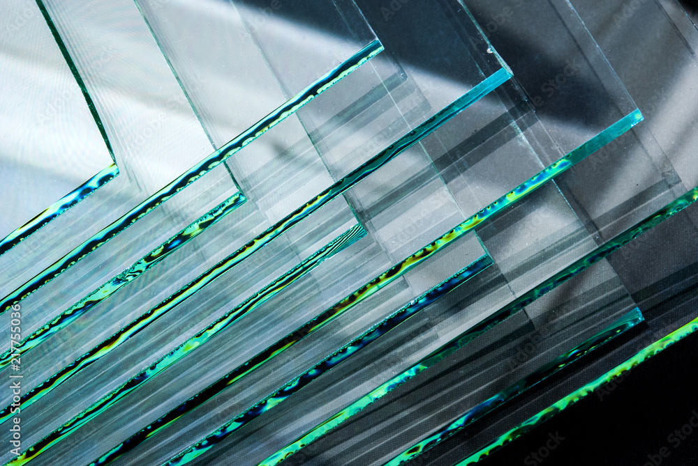 Fototapety, obrazy: Sheets of Factory manufacturing tempered clear float glass panels cut to size