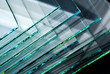 Leinwanddruck Bild - Sheets of Factory manufacturing tempered clear float glass panels cut to size