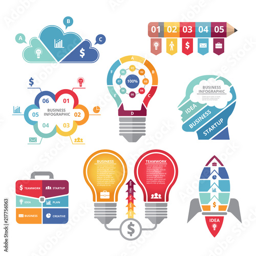 Infographics concepts with various shapes bulb, rocket, business case and profil Canvas-taulu