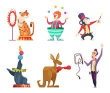 Circus Cartoon Characters. Vec...