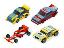 Race Car Set. 3D Racing Cars. ...