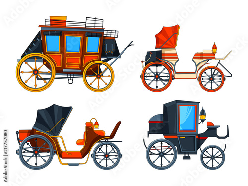 Foto Carriage flat style. Illustrations set of various chariot