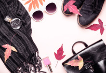 Female Fashion Autumn Accessories, Shoes And Handbag On Pastel Color Background. Beauty And Fashion Concept