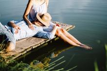 Boyfriend Relaxing On Girlfrie...