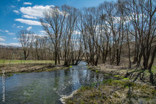 Foto op Aluminium Grijze traf. Spring Sunny Landscape With Blue Sky With Clouds .Spring Is Coming. Sunny Day In Early Spring On.