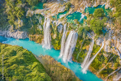 Garden Poster Waterfalls Amazing crystalline blue water of Tamul waterfall at Huasteca Potosina in San Luis Potosi, Mexico