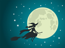 Halloween: Witch Flies On Broomstick, Full Moon