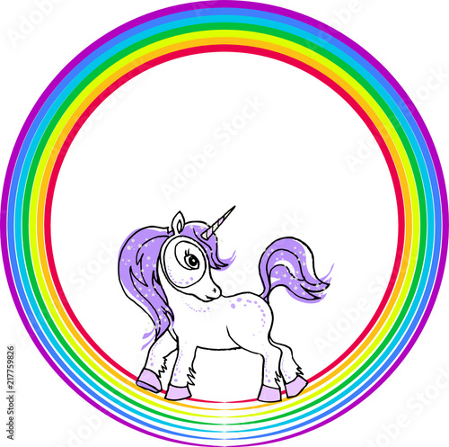 Fotobehang Draw A little fairy unicorn with rainbow