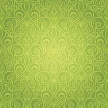 Green Floral Easter Decorative Ornate Pattern Vintage Wallpaper Vector Repeatable Design Backround