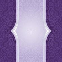 Violet Purple Floral Vintage Seamless Pattern Background Ornate Design With Copy Space