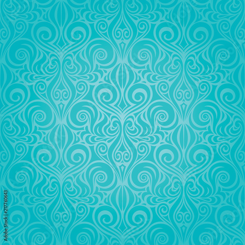 Tapety turkusowe  turquoise-green-decorative-ornate-holiday-vector-background-floral-wallpaper-seamless-pattern-design