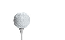 Golf Ball On A Tee Isolated On...