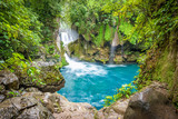Fototapeta Kamienie - Amazing crystalline blue water of Puente de Dios waterfall at Huasteca Potosina in San Luis Potosi, Mexico