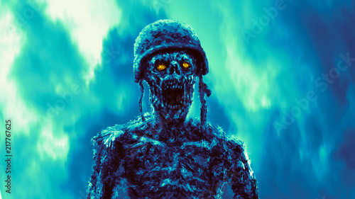 Angry zombie soldier stands on blue fire background. Canvas Print