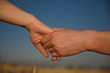 a man's hand holds a female against the background of nature