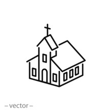 Isometric Church Icon, Linear Sign Isolated On White Background - Editable Vector Illustration Eps10