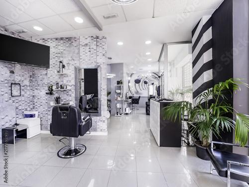 Modern bright beauty salon or baber shop. Hair salon interior ...
