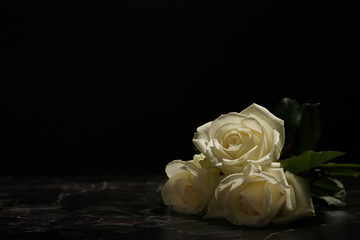 Beautiful white roses on table against black background. Funeral symbol
