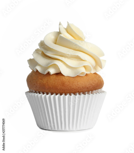 Photo  Delicious birthday cupcake on white background