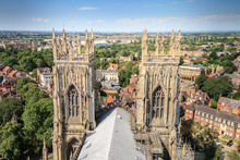 Incredible Panoramic View Of The City Of York And The Rooftop And Spires Of York Minster Cathedral In Yorkshire, England